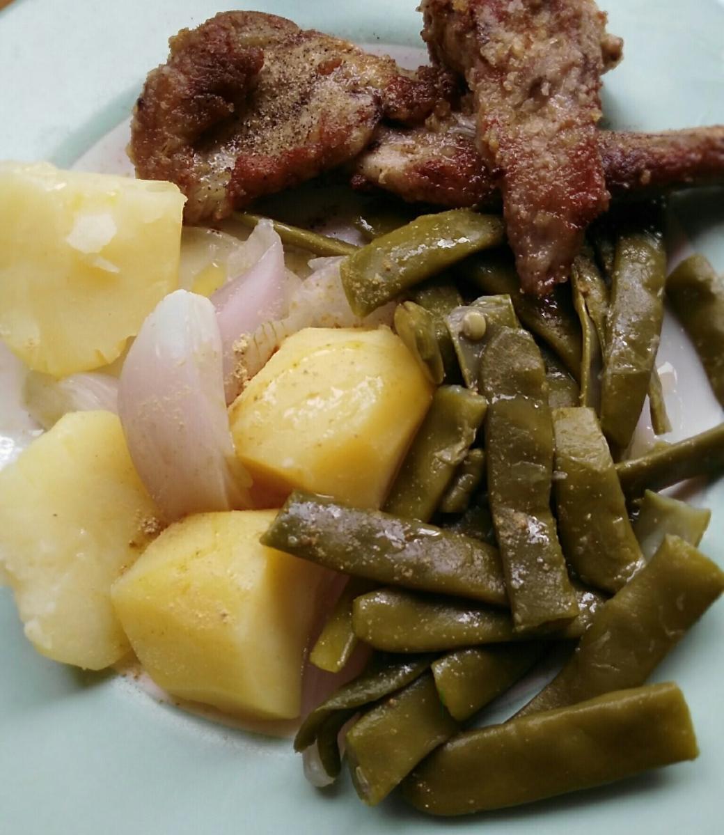Judías verdes y conejo, menú diario