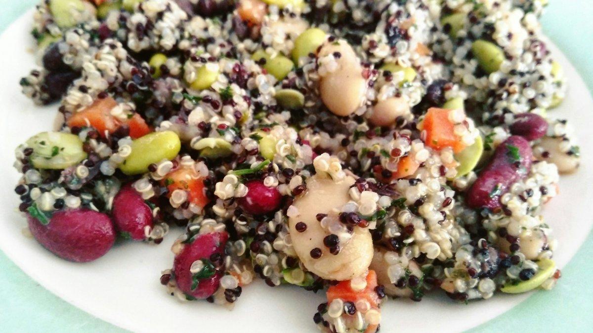 Quinoa, alubias y habas de soja