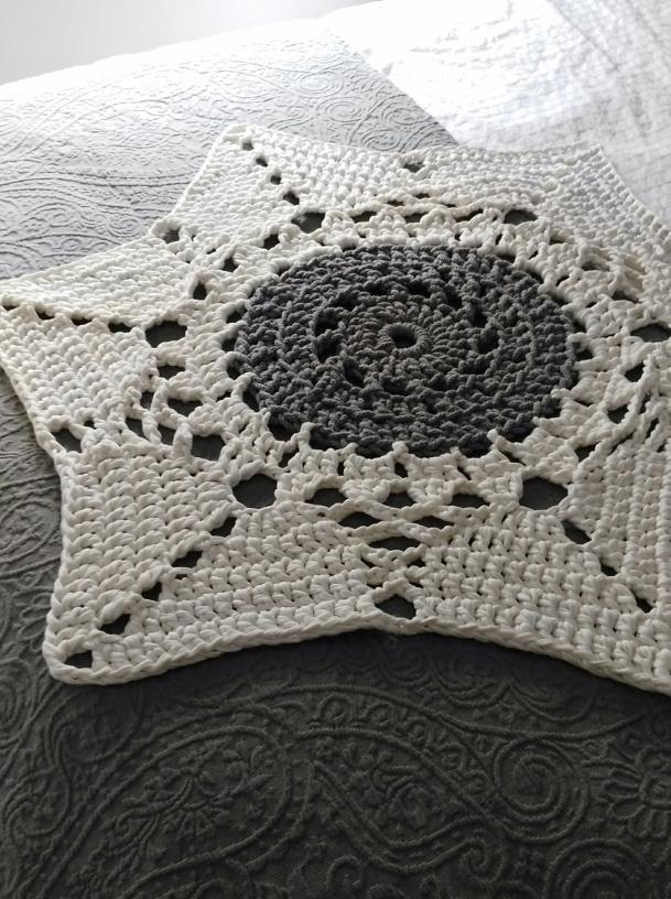 estrella alfombra ganchillo